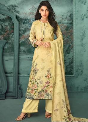 Digital Print Yellow Fancy Fabric Designer Palazzo Salwar Kameez