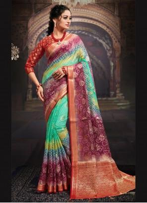 Digital Print Fancy Fabric Designer Saree in Multi Colour