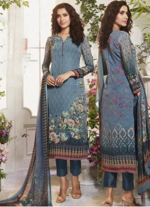 Digital Print Faux Crepe Blue Pant Style Suit