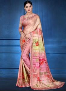 Digital Print Georgette Satin Multi Colour Printed Saree