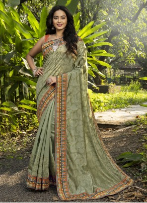 Digital Print Green Chanderi Classic Designer Saree