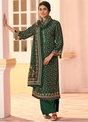 Digital Print Green Muslin Bollywood Salwar Kameez