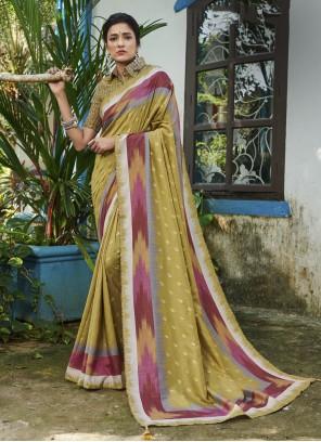 Digital Print Green Silk Contemporary Saree