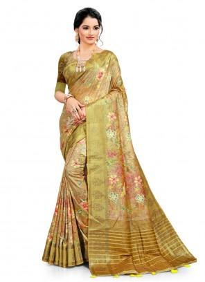 Digital Print Green South Cotton Printed Saree