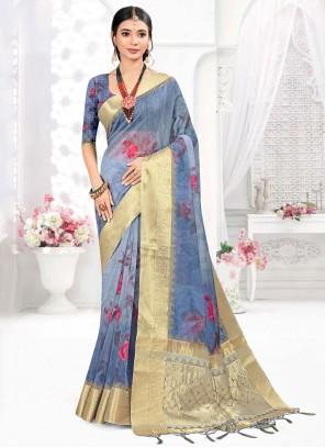 Digital Print Grey Organza Designer Traditional Saree