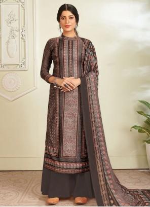 Digital Print Grey Pashmina Designer Pakistani Salwar Suit