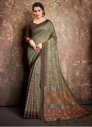 Digital Print Handloom silk Classic Designer Saree in Multi Colour