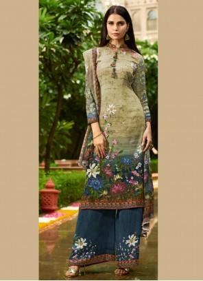 Digital Print Multi Colour Faux Crepe Designer Pakistani Suit