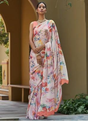 Digital Print Multi Colour Georgette Satin Bollywood Saree