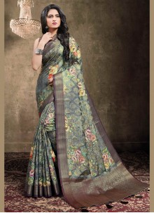 Digital Print Multi Colour Jacquard Traditional Designer Saree