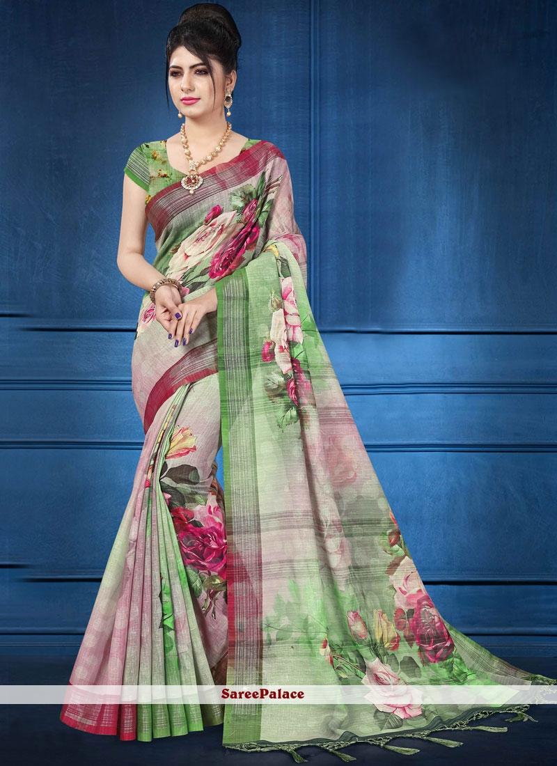 caf9390b36 Buy Digital Print Multi Colour Linen Printed Saree Online
