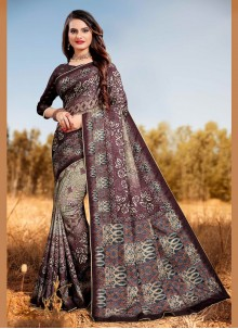 Digital Print Multi Colour Silk Designer Saree