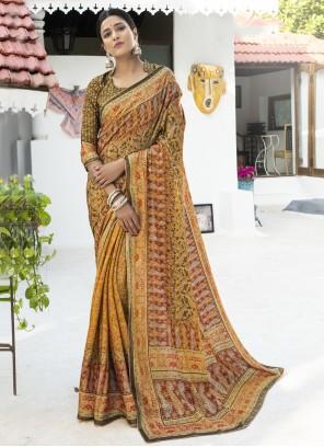 Digital Print Multi Colour Silk Designer Traditional Saree