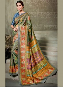 Digital Print Multi Colour Silk Saree
