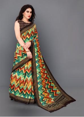 Digital Print Multi Colour Silk Trendy Saree