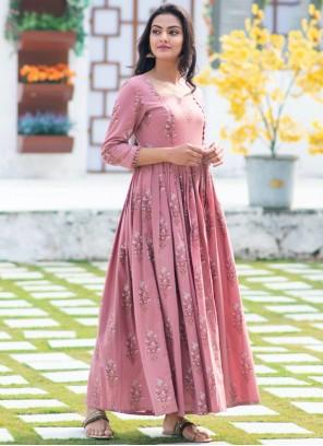 Digital Print Muslin Designer Gown