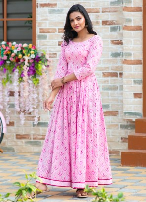 Digital Print Muslin Readymade Gown