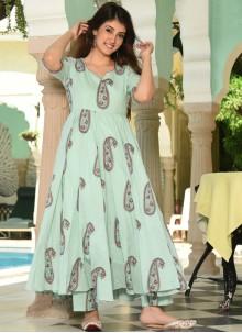 Digital Print Muslin Sea Green Trendy Palazzo Suit