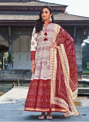 Digital Print Off White Readymade Anarkali Suit