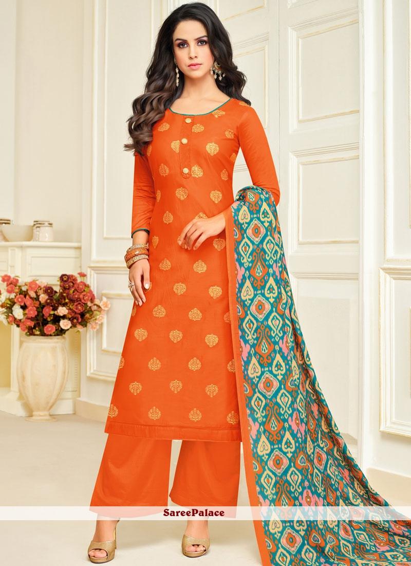 ffddae1a3a Buy Digital Print Orange Palazzo Designer Salwar Kameez Online
