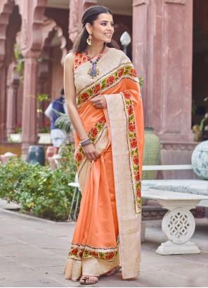 Digital Print Orange Traditional Designer Saree
