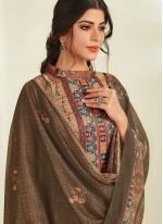 Digital Print Pashmina Designer Pakistani Suit in Brown
