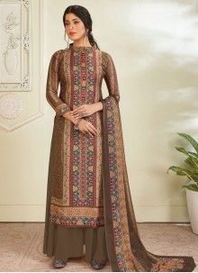 Digital Print Pashmina Designer Pakistani Suit in Brown