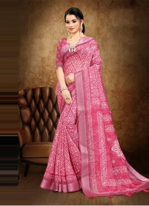 Digital Print Pink Cotton Saree