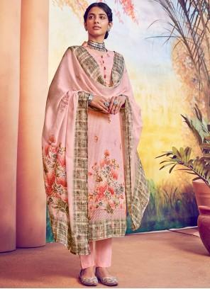 Digital Print Pink Muslin Designer Straight Salwar Suit
