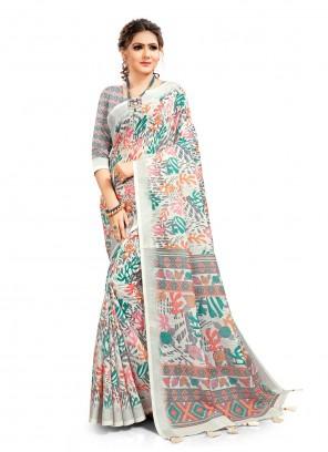 Multi Colour Cotton Linen Digital Printed Saree