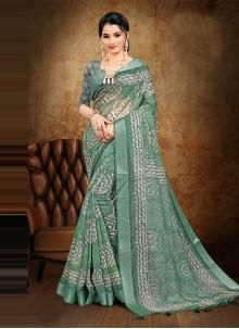 Sea Green Digital Printed Cotton Saree