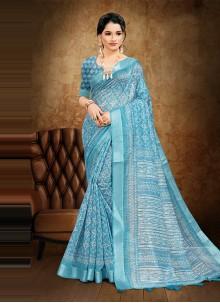 Blue Digital Printed Cotton Saree