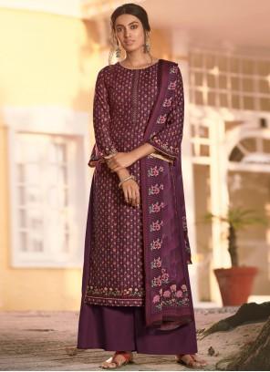 Digital Print Purple Muslin Bollywood Salwar Kameez