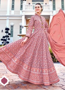 Digital Print Pink Readymade Gown
