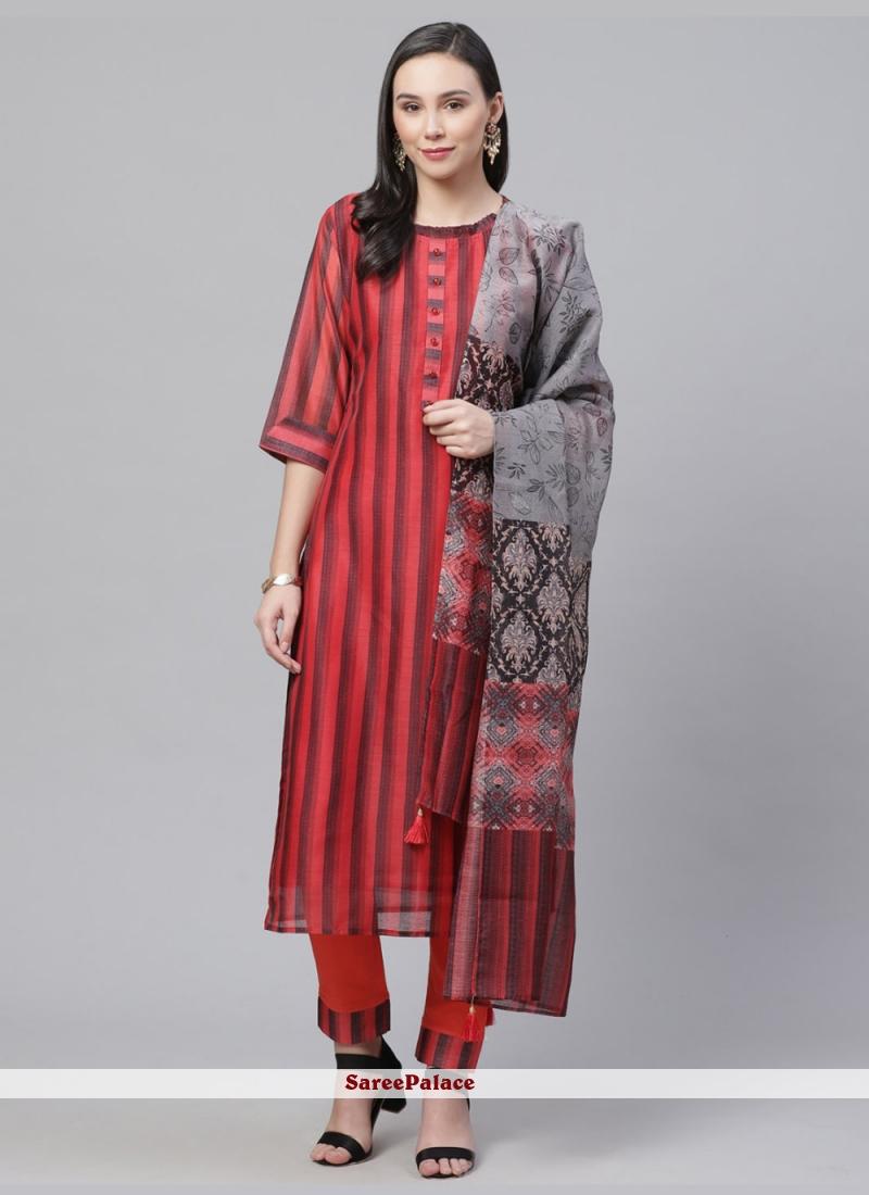 Digital Print Red Designer Salwar Suit