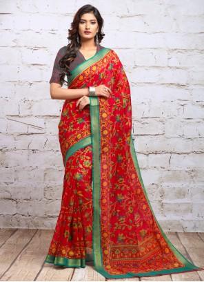 Digital Print Red Silk Trendy Saree