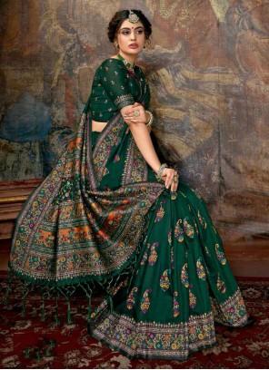Green Digital Print Saree