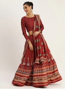Maroon Digital Print Silk Bollywood Lehenga Choli