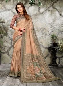 Digital Print Silk Casual Saree in Brown