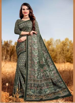 Digital Print Silk Classic Saree
