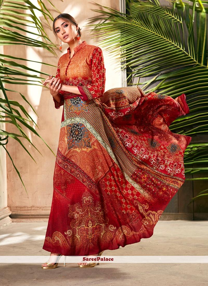 Digital Print Silk Designer Gown in Multi Colour