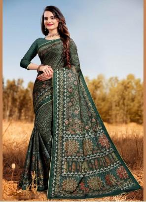 Digital Print Silk Multi Colour Classic Saree