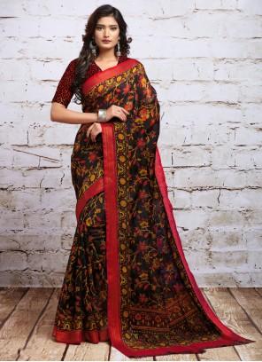 Digital Print Silk Multi Colour Contemporary Saree