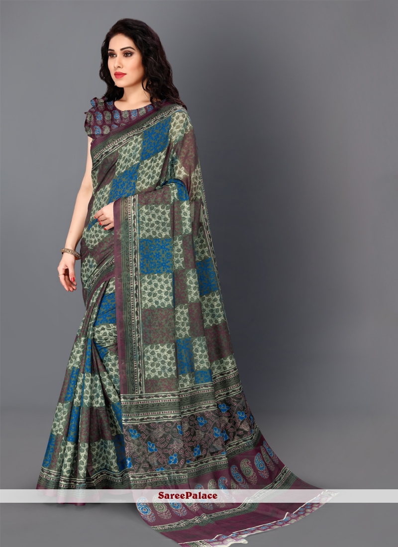 Digital Print Silk Multi Colour Traditional Saree