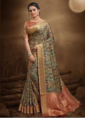 Multi Colour Digital Print Silk Trendy Saree