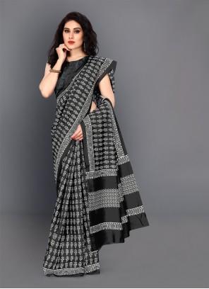 Digital Print Silk Trendy Saree in Black