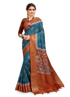 Digital Print South Cotton Blue Printed Saree