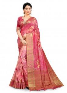 Digital Print South Cotton Printed Saree in Hot Pink