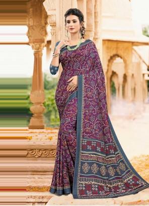 Digital Print Tussar Silk Saree in Multi Colour