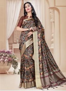 Digital Print Tussar Silk Saree in Brown